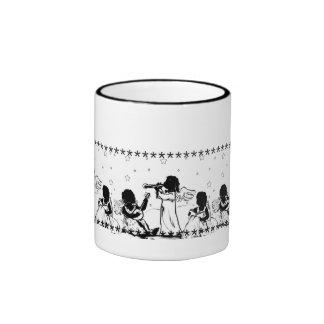 Making music angels black-and-white ringer mug