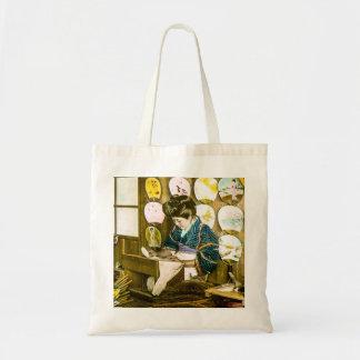 Making Paper Fans in Old Japan Vintage Uchiwa Tote Bag