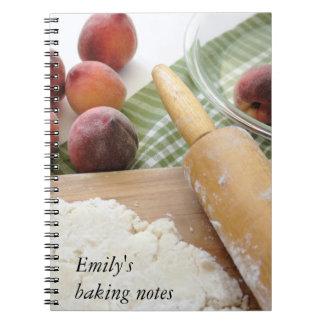 making peach pie baking notebook