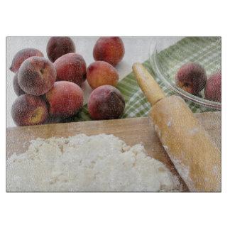 Making peach pie cutting board