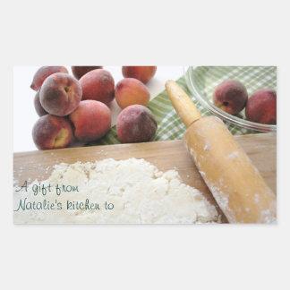 making peach pie gift from kitchen sticker