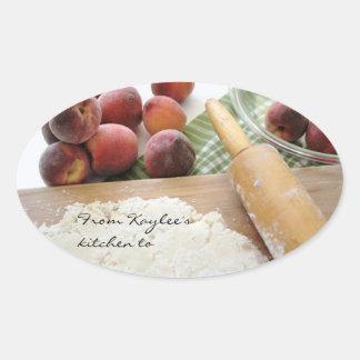 making peach pie gift stickers