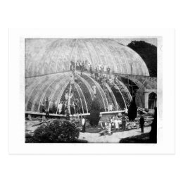Making repairs to the Great Conservatory at Chatsw Postcard