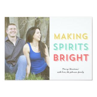 Making Spirits Bright Christmas Photo Flat Card Custom Announcement