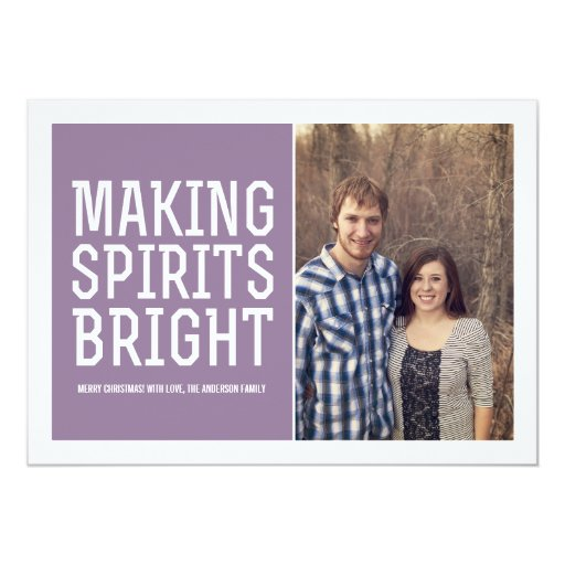 "Making Spirits Bright Christmas Photo Flat Cards 5"" X 7"" Invitation Card"