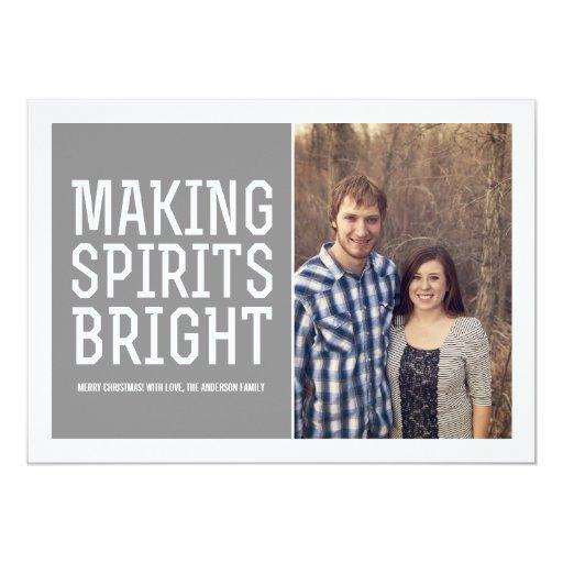 Making Spirits Bright Christmas Photo Flat Cards Invitation