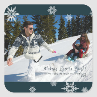 Making Spirits Bright Dark Teal Snowflake Photo Square Sticker