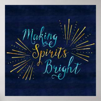 Making Spirits Bright Festive Holiday Poster