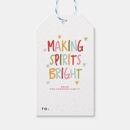 MAKING SPIRITS BRIGHT holiday christmas Gift Tags