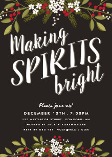 making spirits bright holiday party invitation