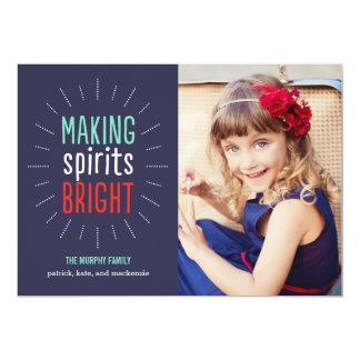 """Making Spirits Bright Holiday Photo Card 5"""" X 7"""" Invitation Card"""