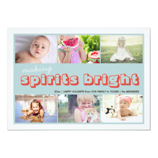 Making Spirits Bright Kids Christmas Photo Collage Card