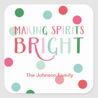 Making Spirits Bright Multi Colored Dot Holiday Square Sticker