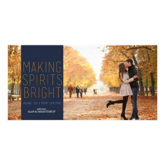 Making Spirits Bright - Navy and Fuschia Personalized Photo Card