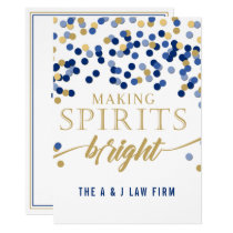 Making Spirits Bright Navy Business holiday Card