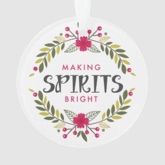 Making Spirits Bright Wreath Christmas Ornament