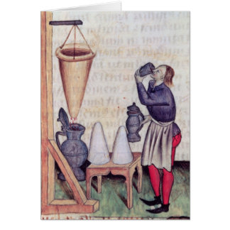 Making sugar syrup, from 'Tractatus de Herbis' Card