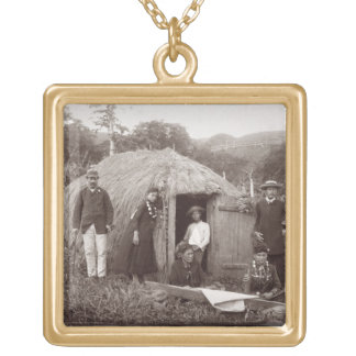 Making Tappa, a native cloth, c.1875 (sepia photo) Gold Plated Necklace