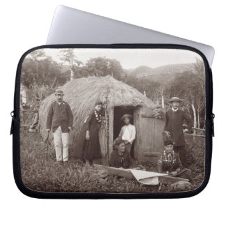 Making Tappa a native cloth c 1875 sepia photo Laptop Computer Sleeve