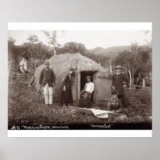 Making Tappa, a native cloth, c.1875 (sepia photo) Poster