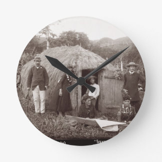 Making Tappa, a native cloth, c.1875 (sepia photo) Round Clock