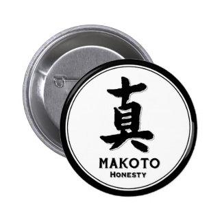 MAKOTO honesty bushido virtue samurai kanji 2 Inch Round Button