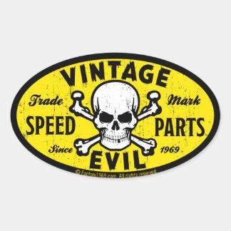 Mal 007A del vintage Calcomanías Ovales Personalizadas