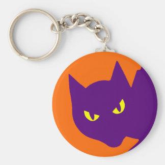 Mal asustadizo de Halloween del gato fantasmagóric Llavero Redondo Tipo Pin