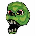 Mal asustadizo que grita el cráneo verde escultura fotografica