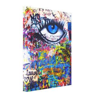 Mal de ojo azul de la pintada lona envuelta para galerias