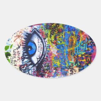 Mal de ojo azul de la pintada pegatina ovalada