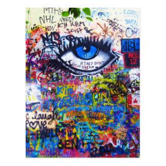 Mal de ojo azul de la pintada postal
