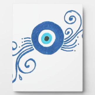 mal de ojo azul redondo placas de madera