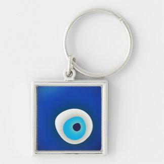 Mal de ojo, símbolo de la protección llavero cuadrado plateado