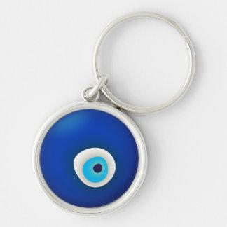Mal de ojo, símbolo de la protección llavero redondo plateado