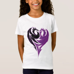 Girls' Fine Jersey T-Shirt with Mal Dragon Heart Logo design