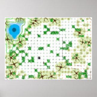 Mal presagio del campo, un mapa del juego, versión impresiones