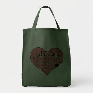 Mal-Shi Paw Prints Dog Humor Grocery Tote Bag