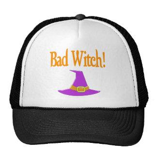 ¡Mala bruja! Diseño púrpura de Halloween del gorra
