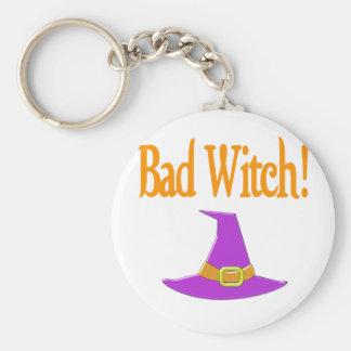 ¡Mala bruja! Diseño púrpura de Halloween del gorra Llavero Redondo Tipo Pin