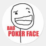 Mala cara de póker etiquetas redondas