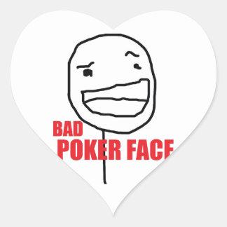 Mala cara de póker pegatina en forma de corazón