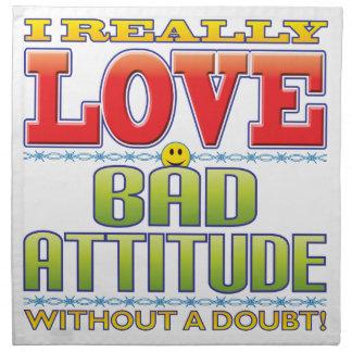 Mala cara del amor de la actitud servilletas imprimidas