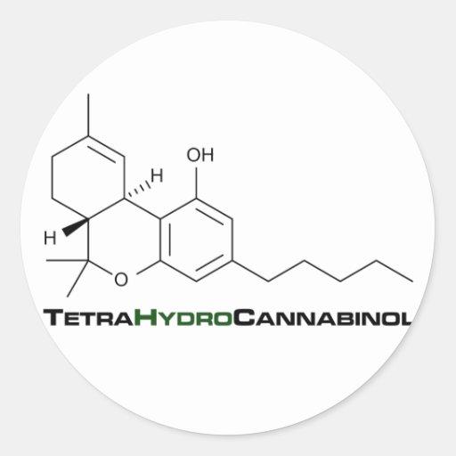 Mala hierba de THC Pegatina Redonda