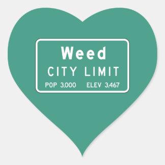 Mala hierba, marcador del camino, California, los Pegatina En Forma De Corazón