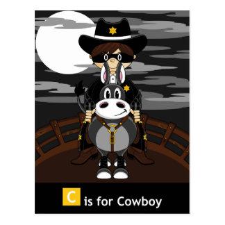 Mala postal enmascarada del vaquero y del caballo
