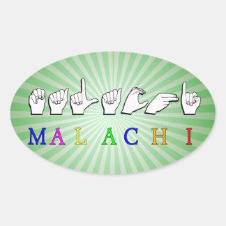 MALACHI NAME SIGN ASL FINGERSPELLED OVAL STICKER
