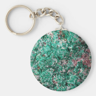 Malachite and copper basic round button keychain