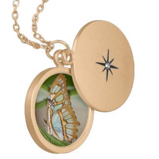 Malachite Butterfly Locket Necklace