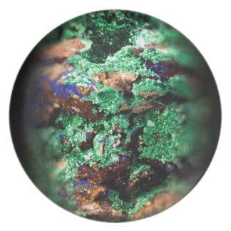 Malachite Lapis Azurite Gems Gemology Rock Dinner Plate